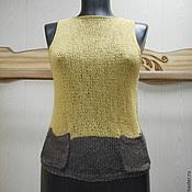Одежда ручной работы. Ярмарка Мастеров - ручная работа Вязаный топ  Монвизо, 100%  лен, Италия. Handmade.