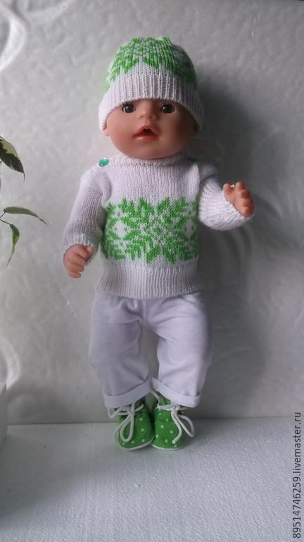 Одежда для кукол ручной работы. Ярмарка Мастеров - ручная работа. Купить Вязаный свитерок для куклы Беби Борн. Handmade. Белый
