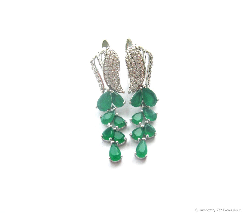 Silver earrings'Chrysoprase', Earrings, Feodosia,  Фото №1
