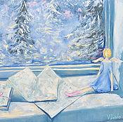 Картины и панно ручной работы. Ярмарка Мастеров - ручная работа картина маслом Зимняя сказка ангел,письма,елки,наивная живопись,окно. Handmade.