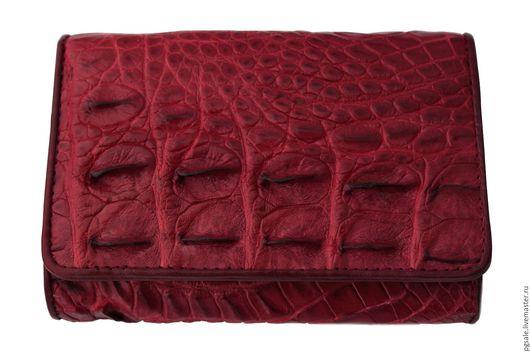 Кошелек из кожи крокодила. Бордовый кошелек. Кожа крокодила.Крокодил.Красный кошелек. Купить кошелек в подарок. Подарок. Подарок женщине.Оригинальный подарок. Ярмарка мастеров Handmade