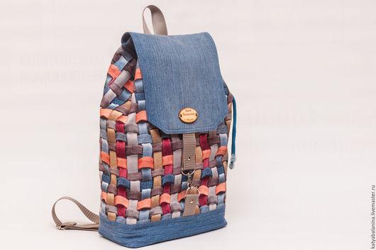Рюкзаки ручной работы. Ярмарка Мастеров - ручная работа. Купить Городской рюкзак Плетёнка джинсовые рюкзак. Handmade. В клеточку