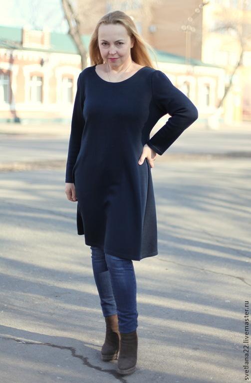 Платья ручной работы. Ярмарка Мастеров - ручная работа. Купить Маленькое темно- синее платье. Handmade. Тёмно-синий