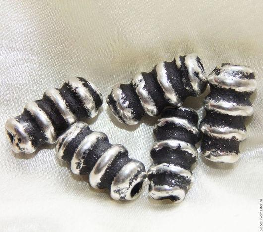 Для украшений ручной работы. Ярмарка Мастеров - ручная работа. Купить ГРЕЧЕСКАЯ КЕРАМИКА античное серебро бусины витые крупные  22. Handmade.