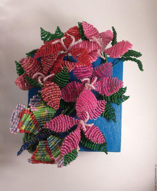 Шкатулки ручной работы. Ярмарка Мастеров - ручная работа. Купить Шкатулка из дерева с цветами из бисера. Handmade. Комбинированный, шкатулка для украшений