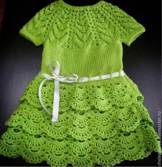 Одежда для девочек, ручной работы. Ярмарка Мастеров - ручная работа. Купить детское летнее вязаное платье салатового цвета. Handmade.