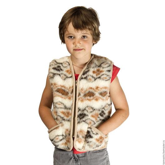 Одежда унисекс ручной работы. Ярмарка Мастеров - ручная работа. Купить Детский жилет, шерсть Мериноса фольклор. Handmade. Шерсть
