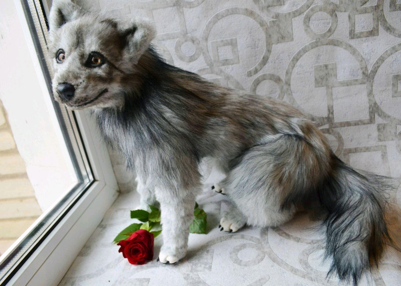 Волк игрушка в смешанной технике, Мягкие игрушки, Тула,  Фото №1