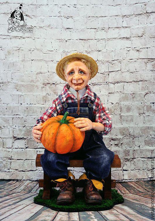 Коллекционные куклы ручной работы. Ярмарка Мастеров - ручная работа. Купить Оливер. Handmade. Фермер, оливер, соломенная шляпа, хлопок