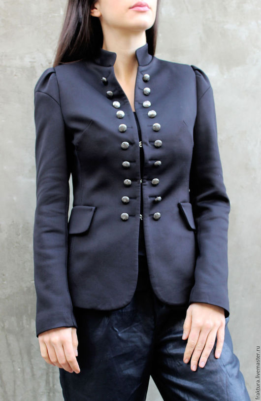 """Пиджаки, жакеты ручной работы. Ярмарка Мастеров - ручная работа. Купить Пиджак """"Buttons"""" C0013. Handmade. Черный, пиджак черный"""