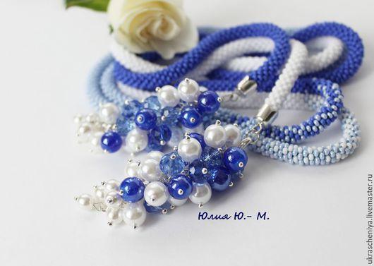 """Лариаты ручной работы. Ярмарка Мастеров - ручная работа. Купить Лариат """"Атлантика"""", жгут из бисера, синий, голубой, белый. Handmade."""