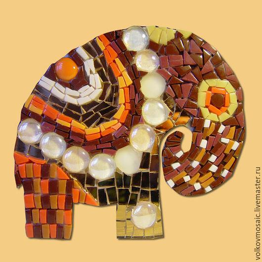 Животные ручной работы. Ярмарка Мастеров - ручная работа. Купить смальта-пазл «мозаика Слон Каштановый». Handmade. Коричневый, Пазл