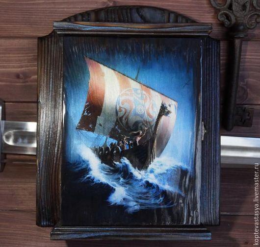"""Прихожая ручной работы. Ярмарка Мастеров - ручная работа. Купить Ключница """"Северное Море"""". Handmade. Черный, ключница деревянная, драккар"""