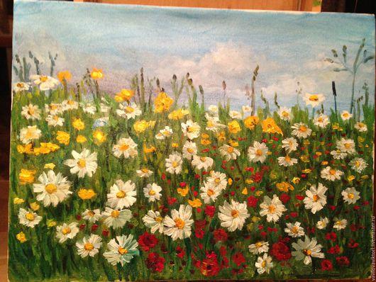 Цветущий ромашковый луг с маками, картина маслом на холсте, подарок на любой случай