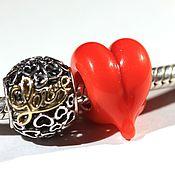 Украшения ручной работы. Ярмарка Мастеров - ручная работа Бусина-сердце лэмпворк для браслета. Handmade.