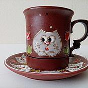 handmade. Livemaster - original item Ceramic decorative vase handmade: Curious cats in tulips. Handmade.