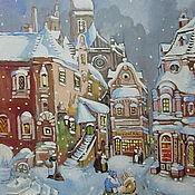 Картины и панно ручной работы. Ярмарка Мастеров - ручная работа Зимний сказочный городок. Handmade.