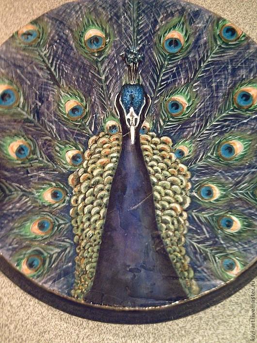 """Животные ручной работы. Ярмарка Мастеров - ручная работа. Купить роспись Панно-фреска """"Синяя птица"""". Handmade. Тёмно-синий"""