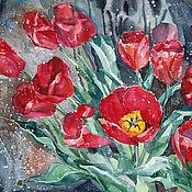 Картины и панно handmade. Livemaster - original item Painting watercolor Tulips spring sun. Handmade.