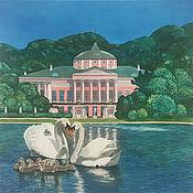 """Картины и панно handmade. Livemaster - original item Painting on silk """"Ostankino estate"""". Handmade."""