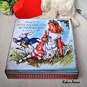 Для дома и интерьера ручной работы. Ярмарка Мастеров - ручная работа Шкатулка декупаж деревянная для хранения  Алиса в стране чудес. Handmade.