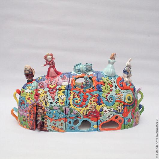"""Сервизы, чайные пары ручной работы. Ярмарка Мастеров - ручная работа. Купить Чайный сервиз """"WonderLand"""" по мотивам сказки """"Алиса в Стране Чудес"""". Handmade."""
