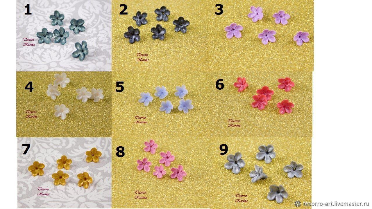 Цветочные бусины типа сирень пять лепестков, Палитра 6, Бусины, Солнечногорск,  Фото №1