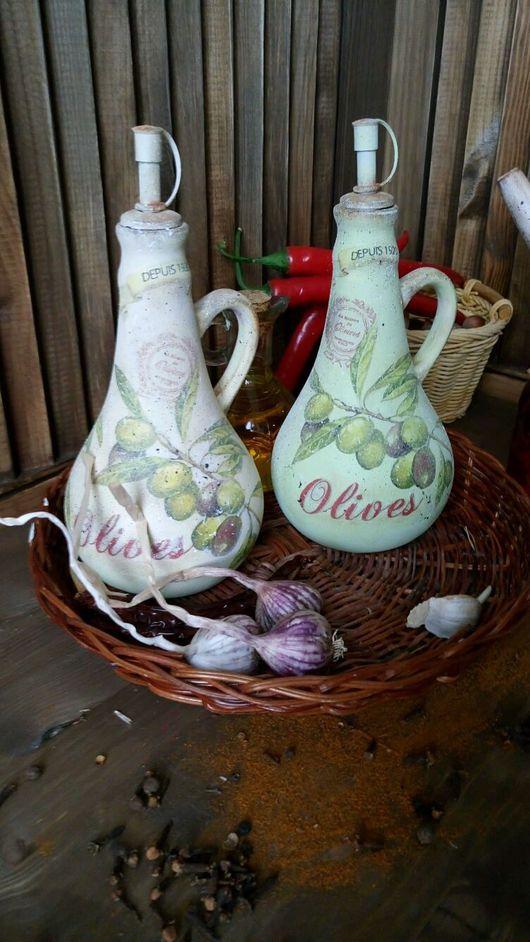"""Кухня ручной работы. Ярмарка Мастеров - ручная работа. Купить """"Olive..""""  Бутылочки для масла.. Handmade. Бутылочка, прованский стиль"""