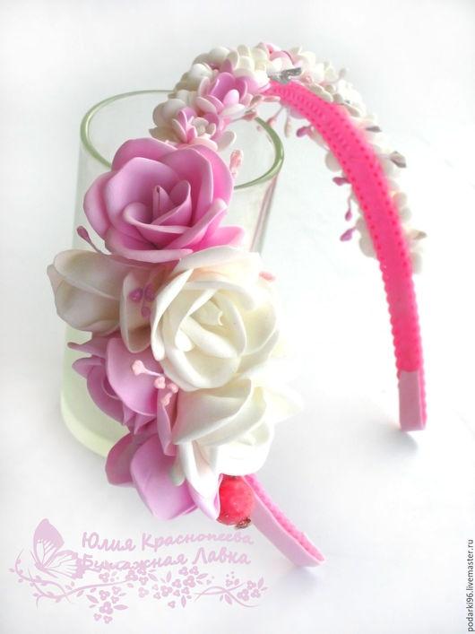 Диадемы, обручи ручной работы. Ярмарка Мастеров - ручная работа. Купить Розовый ободок для волосс цветами из фоамирана. Handmade. Розовый