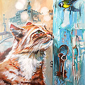 Картины и панно handmade. Livemaster - original item Turquoise Peter-Painting with a red cat. Handmade.