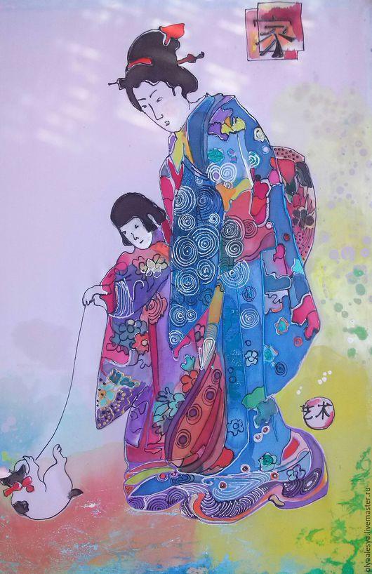 Фантазийные сюжеты ручной работы. Ярмарка Мастеров - ручная работа. Купить Картина восток, роспись по ткани. Handmade. Картина для интерьера