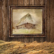 Картины и панно ручной работы. Ярмарка Мастеров - ручная работа картина акварелью Пасмурно уже давно...(рама ручной декор, коричневый). Handmade.