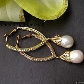 Украшения handmade. Livemaster - original item Earrings. Majorca pearls in gilded accessories with zircons. Handmade.