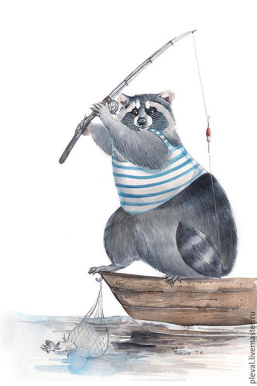 Животные ручной работы. Ярмарка Мастеров - ручная работа. Купить Картина акварелью с енотом Енот - рыбак, рыбалка. Handmade. Белый