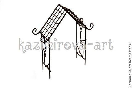 Материалы для флористики ручной работы. Ярмарка Мастеров - ручная работа. Купить Металлическая мини арка-домик коричневая 9.5х15.5. Handmade.