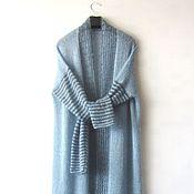 """Одежда ручной работы. Ярмарка Мастеров - ручная работа Кардиган- пальто-халат из кид- мохера """"jeans"""". Handmade."""
