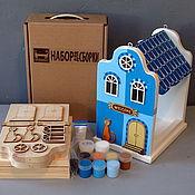 Для дома и интерьера ручной работы. Ярмарка Мастеров - ручная работа Кормушка для птиц EUROPE-BLUE (набор-конструктор с красками). Handmade.