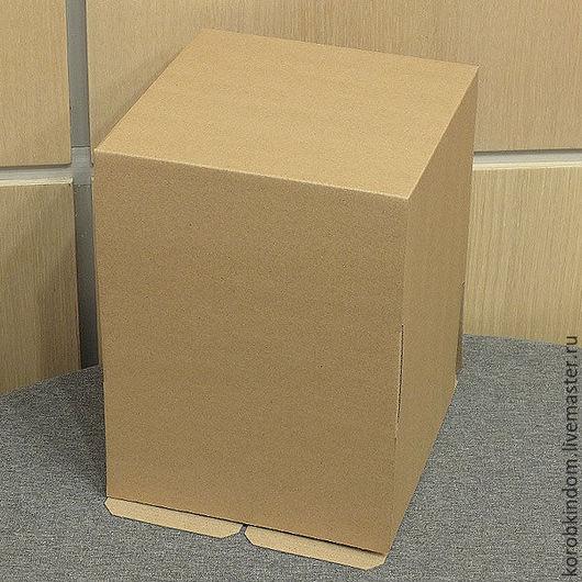 """Упаковка ручной работы. Ярмарка Мастеров - ручная работа. Купить Коробка 19х19х25 """"крышка-дно"""" (высокая крышка) микрогофрокартон коричн. Handmade."""