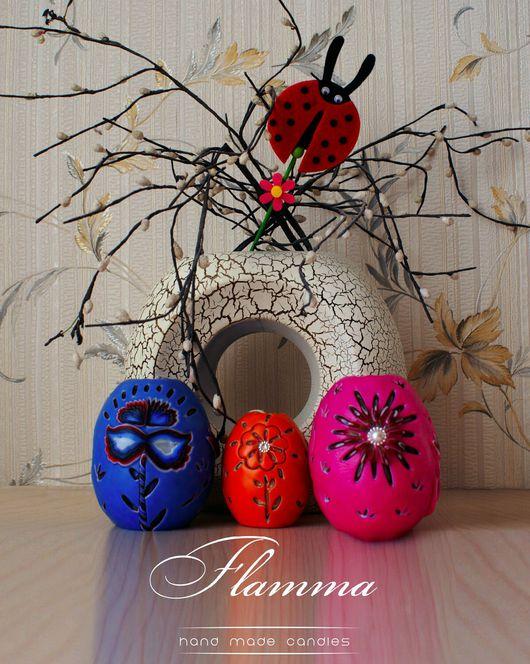 Свечи ручной работы. Ярмарка Мастеров - ручная работа. Купить Пасхальное яйцо - резная свеча от Flamma 10 см. Handmade.