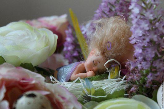 Коллекционные куклы ручной работы. Ярмарка Мастеров - ручная работа. Купить Миниатюрная малышка бабочка. Handmade. Малыш из пластики