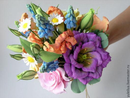 """Цветы ручной работы. Ярмарка Мастеров - ручная работа. Купить """"Весенний букет"""" интерьерная композиция. Handmade. Оранжевый"""
