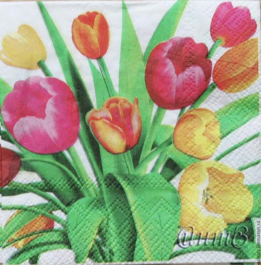 Декупаж и роспись ручной работы. Ярмарка Мастеров - ручная работа. Купить салфетки декупаж  цветы тюльпаны праздник принт. Handmade.