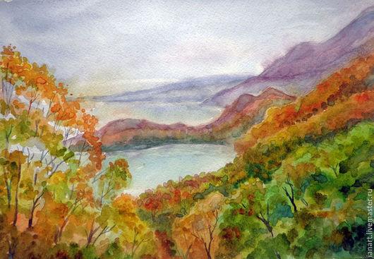 Пейзаж ручной работы. Ярмарка Мастеров - ручная работа. Купить Осень Камчатка. Handmade. Оранжевый, Камчатка, осень, бухта, деревья
