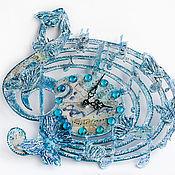 Для дома и интерьера handmade. Livemaster - original item Wall clock Air melody. Decoupage clock. Blue. Blue.. Handmade.