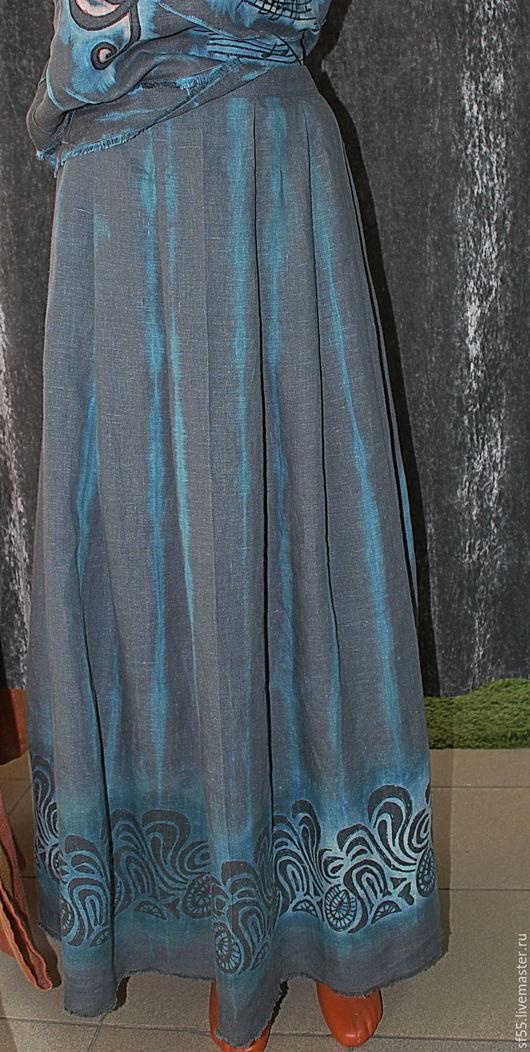 """Юбки ручной работы. Ярмарка Мастеров - ручная работа. Купить Юбка серая """"Кружево"""" из льна. Handmade. Серый, юбка из льна"""