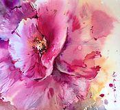 Картины и панно ручной работы. Ярмарка Мастеров - ручная работа Акварель Розовый Мак. Handmade.