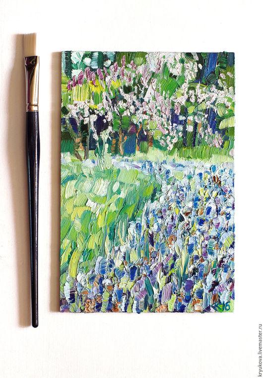 Купить картину пейзаж маслом Анна Крюкова impression-живопись Сиреневый сад сирень букет сирени Весенний пейзаж маслом купить Цветочное поле