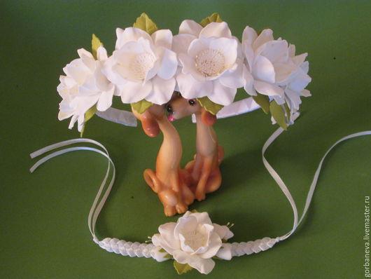 Свадебные украшения ручной работы. Ярмарка Мастеров - ручная работа. Купить набор для девочек. Handmade. Белый, цветы ручной работы