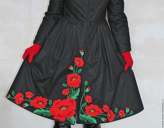Верхняя одежда ручной работы. Ярмарка Мастеров - ручная работа. Купить Пальто, чёрное с маками(дизайнерское). Handmade. Черный, маки
