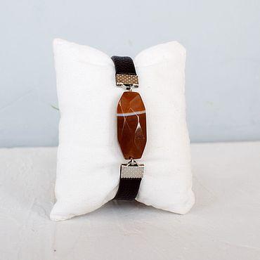 Украшения ручной работы. Ярмарка Мастеров - ручная работа Кожаный браслет женский шоколадный рыжий. Handmade.
